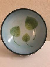Handmade Pottery Bowl Green Leaves Signed  Sallee Burns