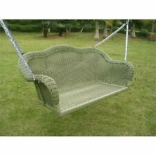 Pemberly Row Wicker Patio Swing in Antique Moss