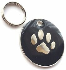 Personalised Engraved Black Enamel Paw Print - Dog/Cat Pet ID Tag 26 mm