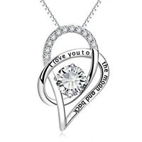 Sterling Silver I Love You to the Moon and back Pendant necklace for women