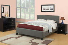 Gray 4 Pcs Modern Queen Size Bed Bedframe Mirror Dresser Nightstand Bedroom Set