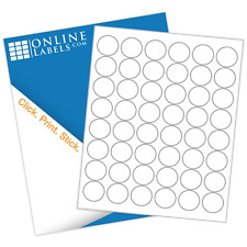 "1.2"" Circle Labels (100 Sheets) White Matte - Blank Laser/Inkjet Labels"