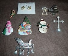 Lot of 9 Holiday Broaches, Pins & Ear Rings, Metal & Resin