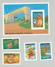 Grenada #1592-1596, 1988 Boy Scouts Jamboree 4v & 1v S/S Imperf Proofs