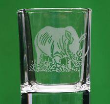 More details for set of 6 rhinoceros rhino safari animal crystal shot glass clearance