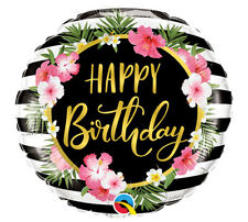 """Happy Birthday Gold Script Floral Flowers Pink 18"""" Mylar Balloons Party 3 Pack"""
