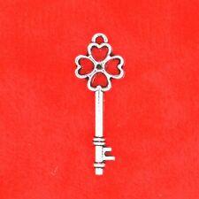 20 x Tibetan Silver Small Lucky Four Leaf Clover Key Charm Pendant