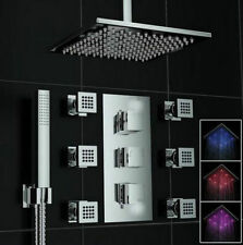 "Thermostatic Valve 16"" LED Rainfall Shower Head Hand Spray 6 Massage Jets Set"