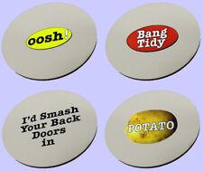 Oosh, Bang Tidy, Potato, Smash Back Doors - Set of 4 Coasters. Printed joke gift