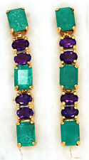 925 STERLING SILVER NATURAL TURQUOISE AMETHYST JEWELRY EARRINGS