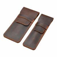 1 Pcs  Brown Soft Leather Pencil Fountain Pen Storage Case Pens Pouch Bag Holder