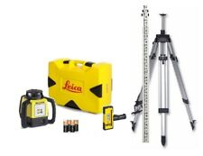 Rotating Laser Leica Rugby 620 Rod Eye 120 w/ Elevating Tripod & Rod Package