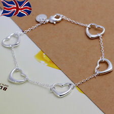 925 Sterling Silver plated Heart Bracelet Chain Link 7.5 Inch Girls Gift Love UK