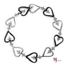 Women's Ladies Heart Link Bracelet 1.84 Carat Black Diamond 14k White Gold