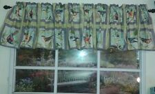 Birds in tree grey squares and green background valance 14x43 handmade
