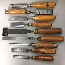Job Lot Of Vintage Wood Woodwork Chisels Footprint Marples Sorby Ward Moulson