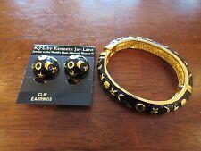 Kenneth Jay Lane Moon & Stars Black & Gold Enamel Bracelet & Earring Set