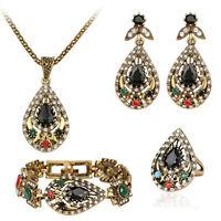 Rhinestone mixed teardrop ancient style onyx necklace bracelet ring earrings set