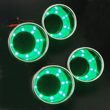 4Pcs Green LED Cup Drink Holder Stainless Steel Cup Bottle Marine Boat /Truck RV