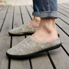 Men's Driving Loafers Linen Home Indoor Slippers Slip On Walking Shoes Casual H9