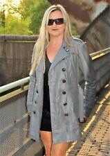 Trenchcoat in Echtleder Ledermantel als Design Trench-Coat stahl - grau, Damen