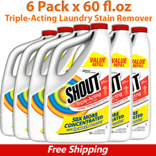 Shout Triple-Acting Laundry Stain Remover, Liquid Refill, 6 Pack x 60 fl oz