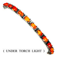 Glorious Oval 6x4mm Orange Fire Opal Black Rhodium 925 Sterling Silver Bracelet