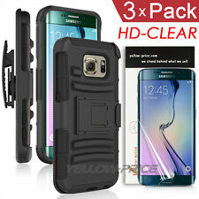 Galaxy S6 Edge Full Coverage Screen Film+Shockproof Holster Belt Clip Stand Case