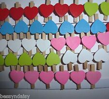 50 Cute RED WOODEN HEARTS 3cm PEGS Clips Mini Party Favour Wood Lolly Bags Set