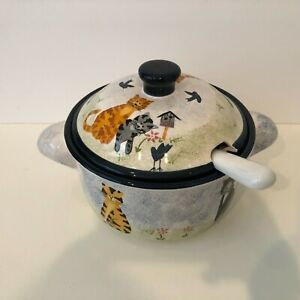 Creatively Yours ~ Ceramic Covered Soup Tureen with Ladle ~ Kitty Cat Theme