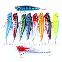 Popular 10pcs Popper Fishing Lures Bass Crankbaits Baits Tackle Minnow Fish Lure
