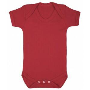Red Baby Grow 100% cotton plain s/sleeve bodysuit super soft babygrow boy/girl