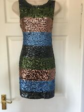 Religion Multicoloured Sequin Front Low Back Bodycon Dress Size M 12