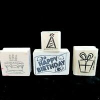 Lot 4 Happy Birthday Rubber Stamps Stampin Up Cake Present Party Hat Greeting