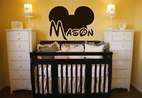 Ik146 Wall Decal Personalized Name Mickey Custom Head Mice Ears Mouse Custom