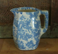 Blue White Spongeware Stoneware Small Pitcher high EXCELLENT condition