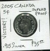 "CANADA - SPECTACULAR SCARCE GEORGE VI ""VICTORY"" SILVER 5 CENTS, 2005, KM# 758"