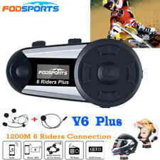 1200M 6Riders FM Motorcycle Intercom Bluetooth Helmet Headset V6 Plus Interphone