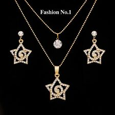 GOLD PLATED STARS WITH AUSTRIAN CRYSTALS NECKLACE EARRING SET Mothers day gift