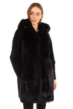 RRP €1460 S.W.O.R.D. Shearling Coat Size 44 / M Removable Hood Popper Front