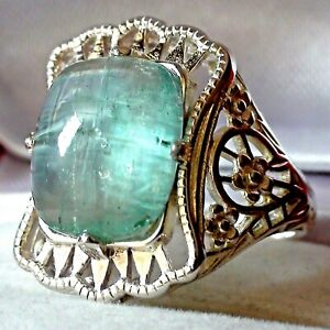 BEST! 6.77ct NATURAL UNTREATED BLUE AQUAMARINE RING 925 STERLING SILVER.S-E 7.25