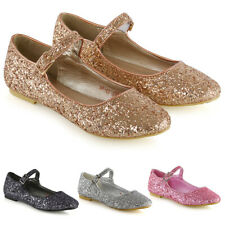 Womens Sparkly Glitter Pumps Ladies Strappy Buckle Close Toe Ballet Shoes