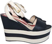 Gucci Striped Wedge Platform Sandals Slingback Shoes Pumps 41 Navy- Ivory