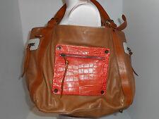 MAURIZIO TAIUTI Calfskin Leather Womens Tote Purse Handbag Large 12X18 Tan Italy