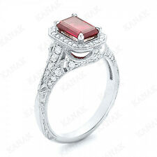 1.45 CT Emerald Cut Ruby and Diamond 10k White Gold Vintage Engagement Ring
