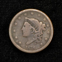 1838 1c CORONET HEAD LARGE CENT LOT#Y485