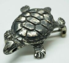 """/ Pin Brooch / 1"""" x 3/4""""(3.4g) Vintage / Solid Sterling Silver / 3D Turtle"""