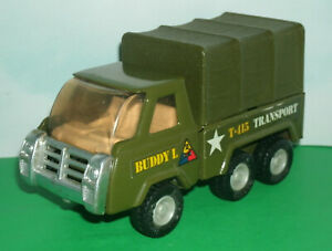 1/34 Scale Army Troop Transport Truck Pressed Steel Toy (T-415) 1980's Buddy-L