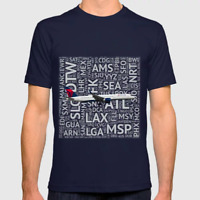 Delta Airlines Boeing 757 with Airport Codes - T-Shirt (Mens or Womens)