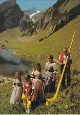 CPA SUISSE SCHWEIZ SEEALPSEE joueur du cor des alpes au lac de seealp